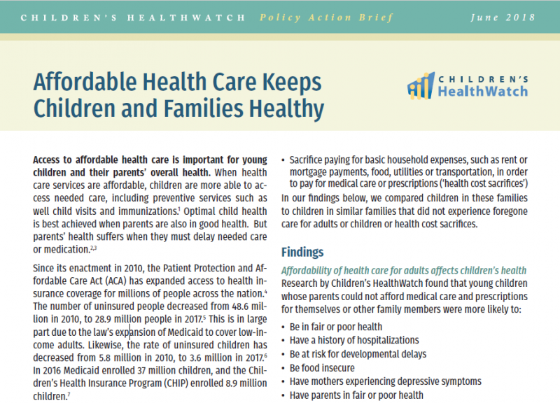 Affordable Health Care Keeps Children and Families Healthy