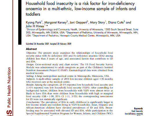 Household food insecurity is a risk factor for iron